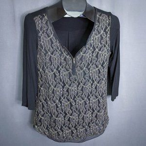 Maurices Womens Top Shirt Small Black Gold Lace